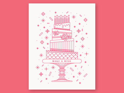 Make a Wish birthday card monoline greeting card card confetti candles frosting icing rosette icon illustration linework layer cake tier cake happy birthday birthday