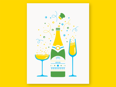 Pop the Cork greeting card card overprint geometric wine party new years celebration confetti sparkle bubbles glass illustration champagne