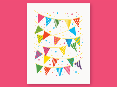 Party Time! party birthday confetti pennants pennant banners banner flags flag celebrate fun bright geometry letterpress vector pattern linework illustration
