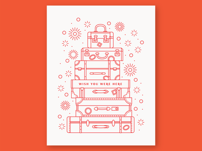 Wish You Were Here vacation wish you were here travel retro vintage suitcases suitcase luggage monoline geometry letterpress icon geometric vector pattern linework