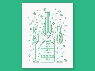 Hooray! Champagne party bubbles bottle wine confetti celebrate celebration hooray champagne card monoline geometry letterpress icon geometric vector pattern linework illustration