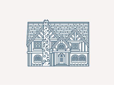 Tudor House #1 chimney roof windows architecture building home tudor house monoline geometry letterpress geometric vector pattern linework illustration
