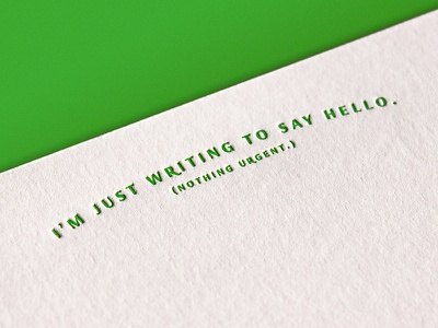 Hello Arc type simple print letterpress hello postcard notecard greeting card minimal green typography card