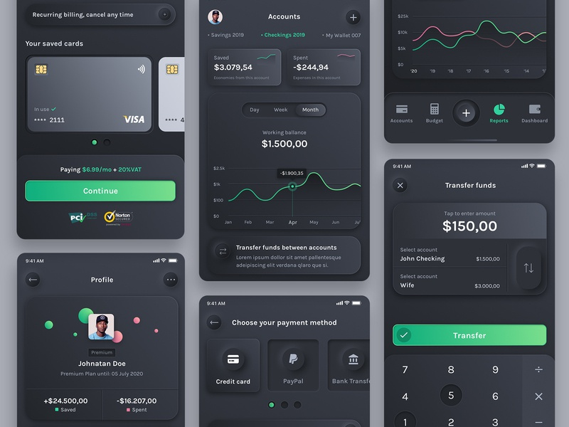 Neumorphic Dark budget card payment method ui elements income expense budget budget planner design mobile button transfer flat chart finance ui ux web dark uikit neumorphism