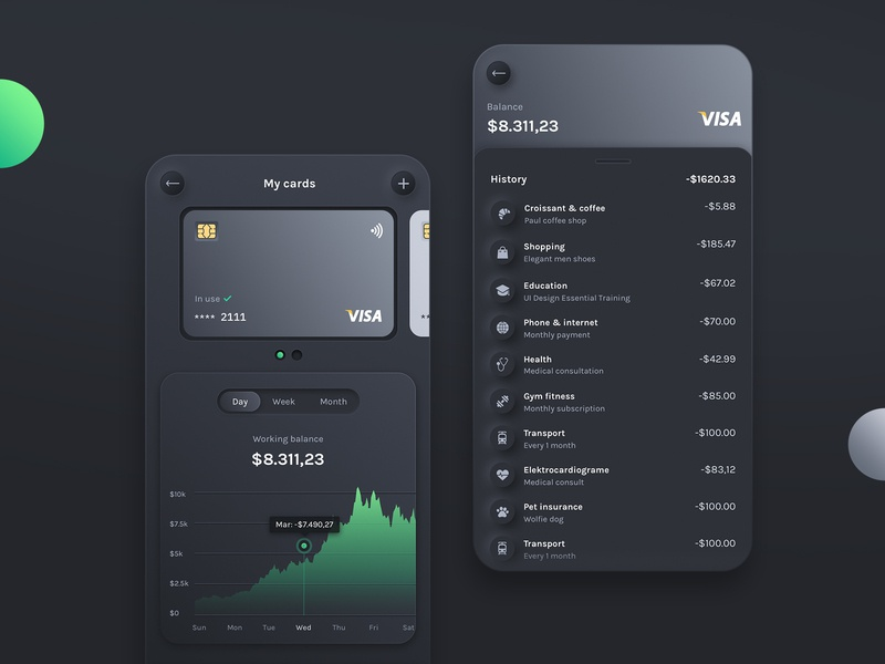 Cards Overview uidesign ux uikit product skeumorphism minimal chart neumorphism neumorphic expenses app finance budget mobile dark cards design cards