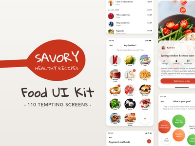 Savory - Healthy Recipes & Shopping List food app ui mobile food food recipes ui food illustration food design ios food app logo vector clean clean ui ux food app mobile food app food ui