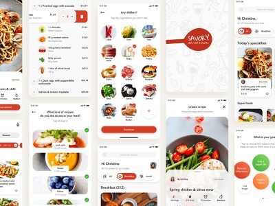 Savory - All Screens mobile design vector shopping cart logo ios branding app typography ux flat ui recipes food food mobile app clean