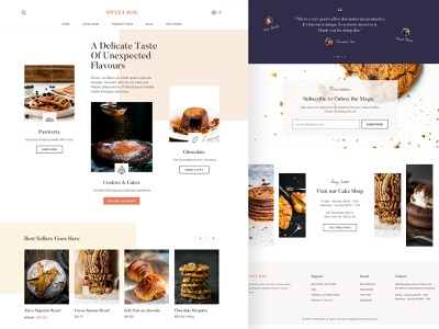 SweetBox - A Cake Shop Bootstrap Theme bootstrap button pastry cake shop bakery home page uidesign logo branding minimal vector ux ui web typogaphy clean flat web design design landing page