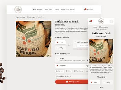 SarkisCafe.ro mobile cream typography vector coffeeshop coffee website coffee bean ux web design ecommerce coffee shop website coffee landing page flat ui clean design branding logo