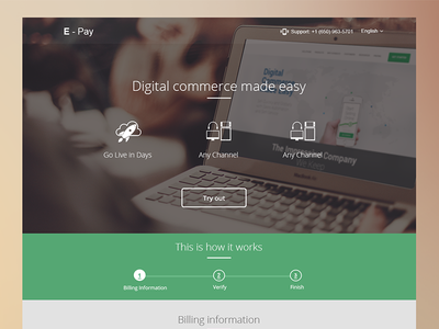 Landing Page E-payment product saas landing page user interface ecommerce flat modern clean steps web design user