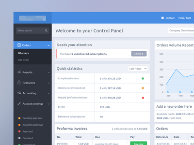 Cpanel  ui clean layout web design orders ecommerce epayment button graph ux reports
