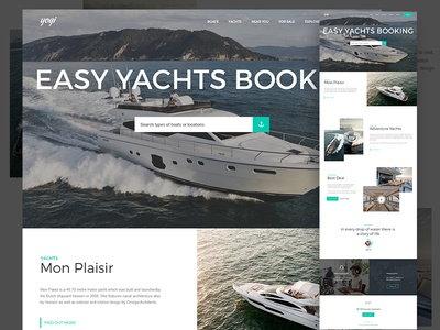 Yachts Home Page website web design ui typography yachts boats water flat web clean landing page