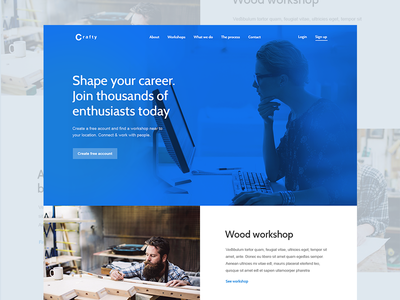 Crafty Home Page app web design layout flat branding landing page blue ui ux clean logo