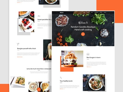 Maker Restaurant Theme dorin007 icons testimonials landing page clean home page ui flat orange cake restaurant food
