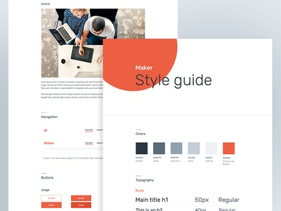 Style Guides for Maker(wp theme) theme corporate clean rubik typography flat button swatches colors ui kit style guide creative