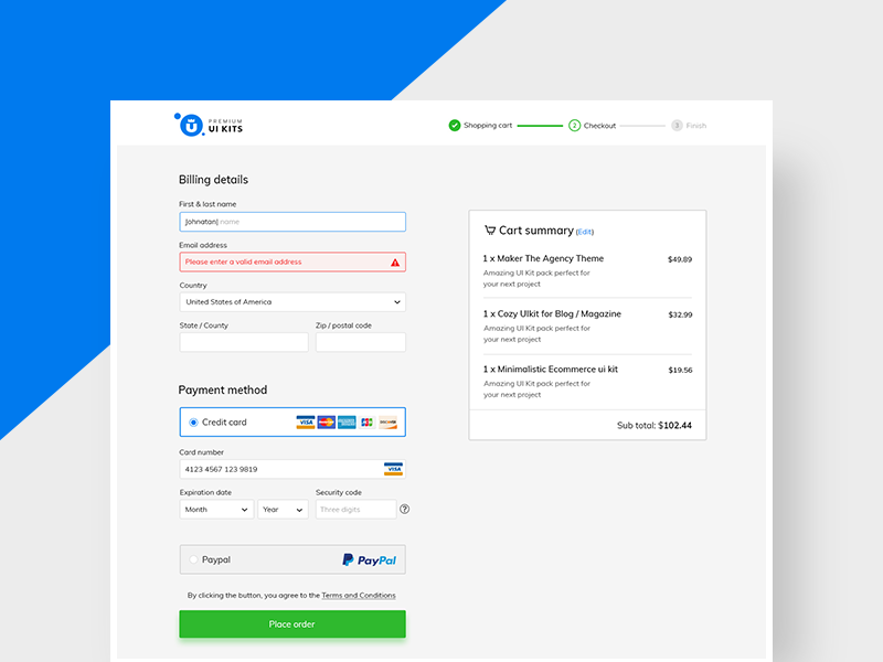 Checkout Flow validation purchase form payment method shopping cart steps flow premiumuikits ui checkout ecommerce epayment