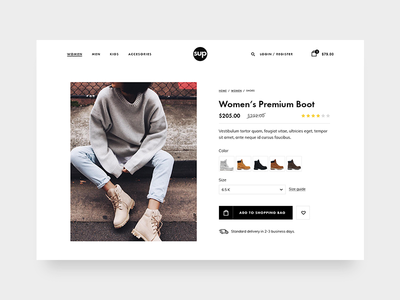 Product Page website black button card shopping ecommerce clean minimal ui visual fashion product