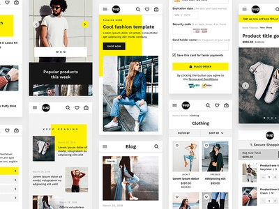 SUP - Fashion Ecommerce UI Kit shop interface checkout blog add to cart store responsive desktop mobile ecommerce fashion product