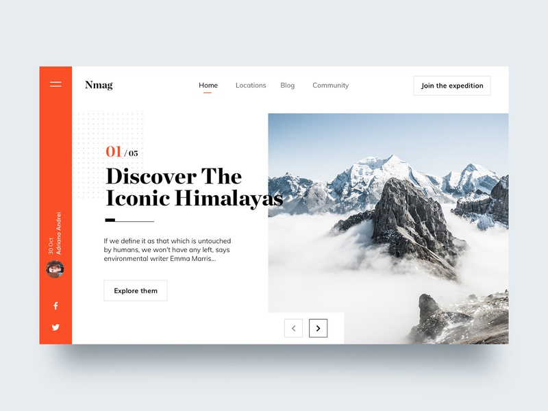 The Great Himalayas ux home page web page design clean ui responsive typography web web design landing page
