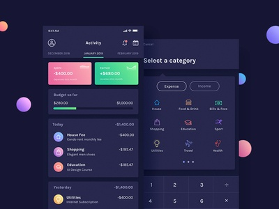 BudgetPlanner - Dashboard & Add Expense Screens