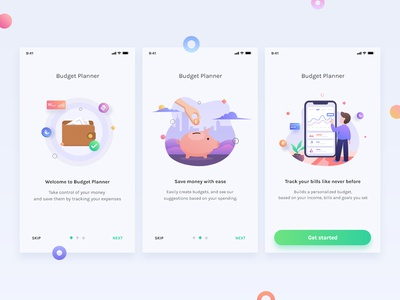 Onboarding Budget Planner sign in vector currencies financeapp app slides graph design illustration dashboard gradients money interface mobile ios onboarding finance budget