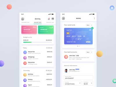 Dashboard and Wallet Screens web branding minimal illustration mobile app design ux ui graph chart clean ios visa credit card overview wallet budget dashboard