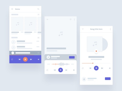 Flowcharts - Mobile Music App web prototype vector icon branding app ui ux minimal web design design flat clean user flowcharts wireframe android ios music