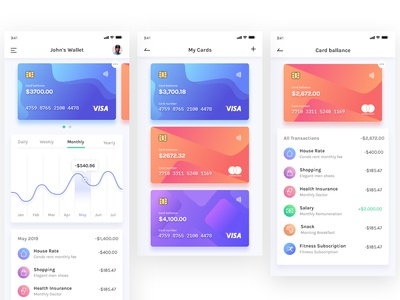 BudgetPlanner - Wallet, My Cards, & Cards Balance logo ux illustration icon branding app flat vector ui gradient minimal design finance mobile ios