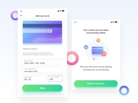 Add new credit/debit card screens