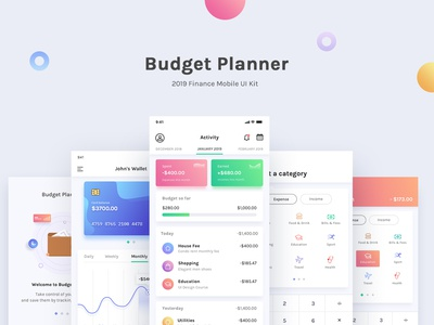 Budget Planner 2019 card graphic clean ui icon money budget dashboard illustration ux flat branding minimal design app