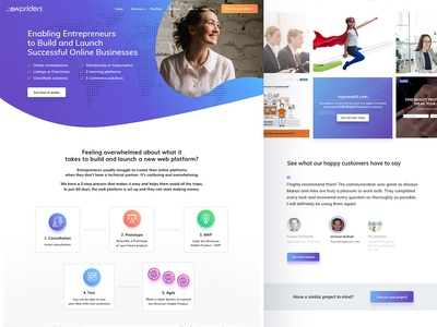 WPriders Home Page vecor gradient logo website homepage clean agency wordpress ux ui flat illustration icons branding app design