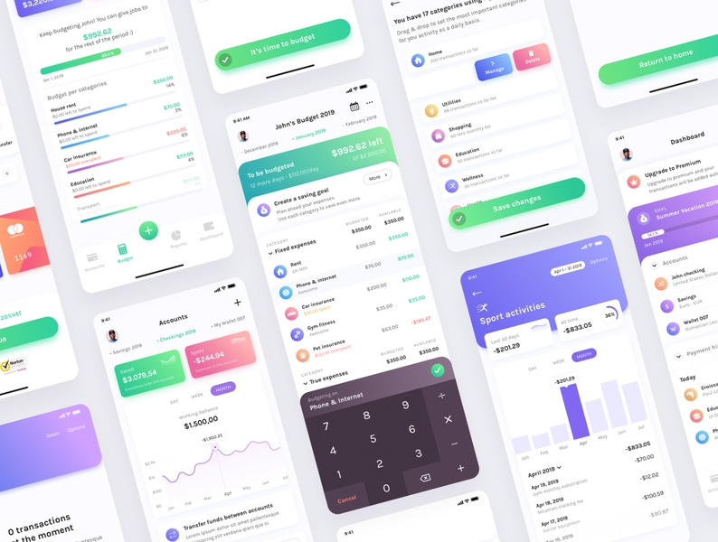 Budget Planner 2.0 UI Kit graphicdesign dark light ux vector gradient logo ios illustration branding landing page design flat web ui clean bank finance dashboard budget