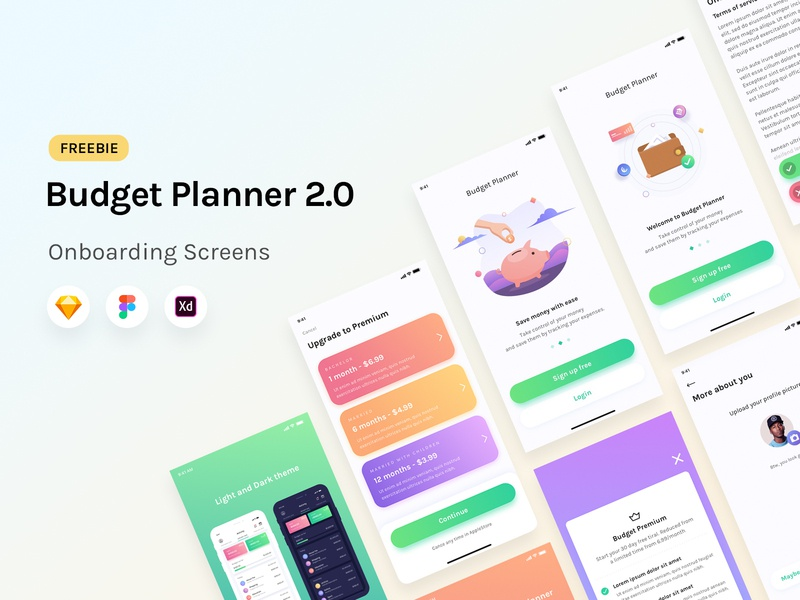 Budget Planner - Onboarding Screens Freebie product freebie minimalism ios transaction branding gradient bank finance onboarding button illustration design ux vector logo web ui flat clean