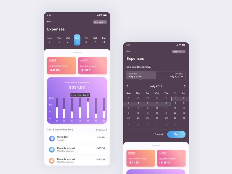 Expenses & Select Date balance statistics chart clean product web typography minimal vector ui mobile dark light calendar budget expense tracker