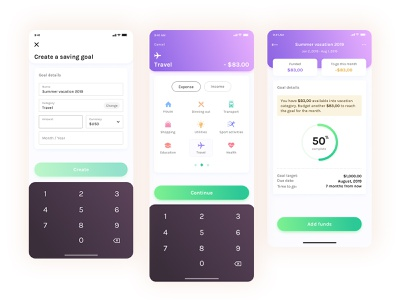 Create Saving Goal app design website minimal typography branding chart vector ux ui web digital clean ios budget bank dribbble