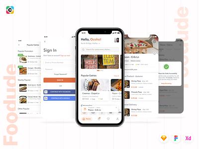 Foodude - Food Delivery App UI KIT food delivery food delivery app food app food design mobile app ui kit ui mobile app design capi