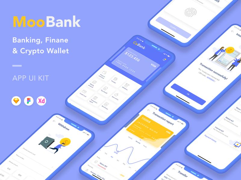 Banking, Finance and Crypto Wallet App UI Kit crypto app crypto wallet finance app banking app bank app mobile app design mobile app