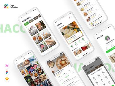 HaCook - Recipe Manager App UI Kit food food app app design creative ui kit mobile app design mobile app recipe app