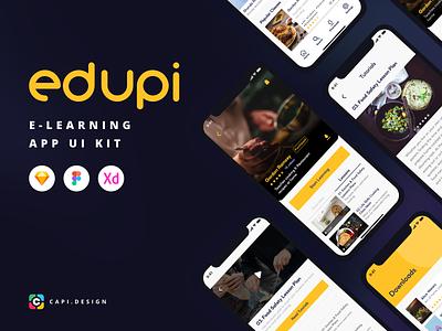 Edupi - E-Learning App UI Kit app design mobile app ui kit mobile app design video app learning app elearning