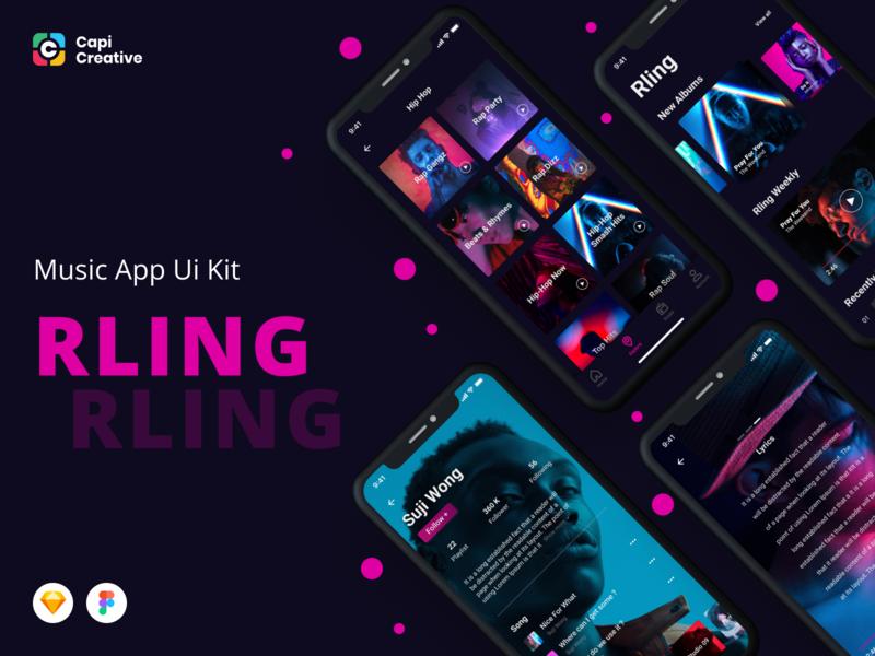 Amazing Music App UI Kit ios mobile app android ui kit app design ui kit creative mobile app design mobile app music app