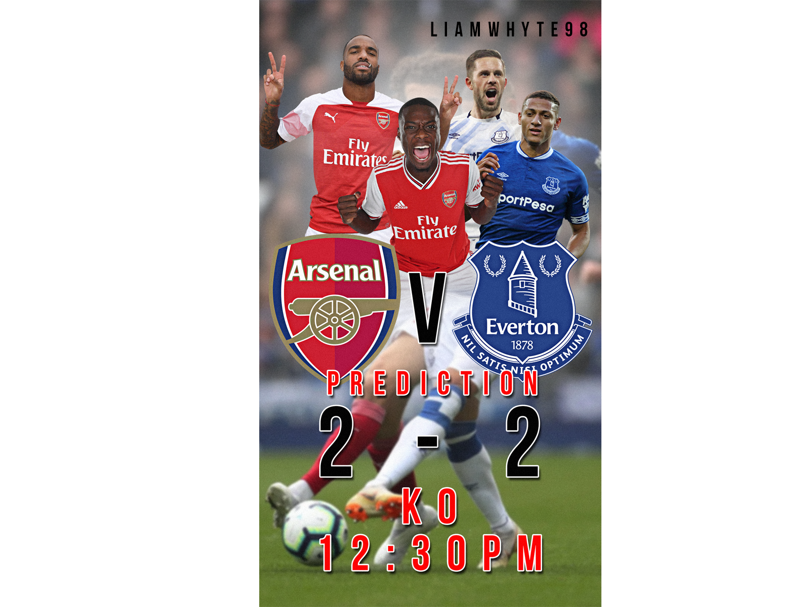 Arsenal Vs Everton Prediction Design By Liam Whyte On Dribbble