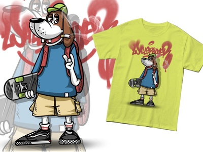 Skate Doggo streetwear art art for sale design for sale design tshirt dog illustration graffiti