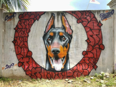 Graffiti Realistic - Doberman pinscher