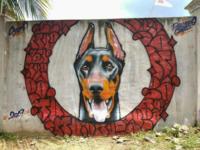 Graffiti Realistic - Doberman pinscher
