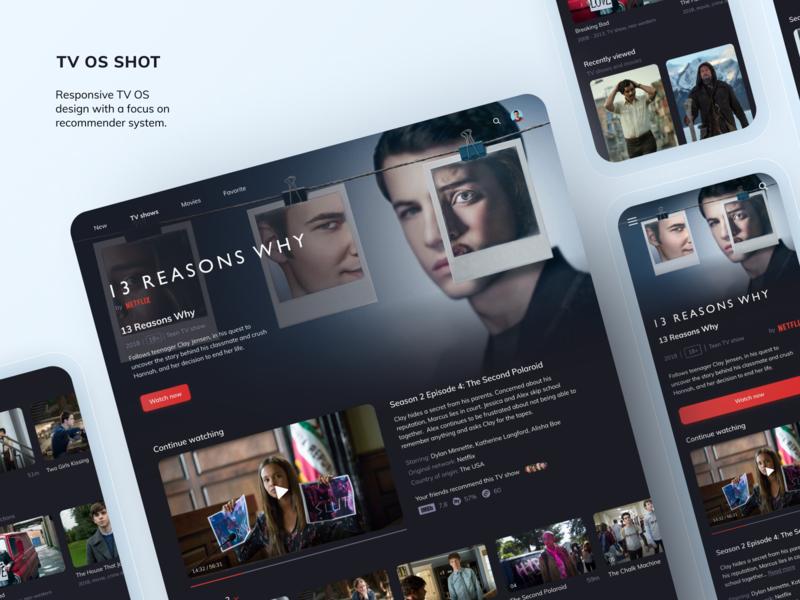 Responsive TV OS App tvos smart tv tv app ui design uxdesign uxui ux app design video interface responsive movies web interaction design concept dark ui