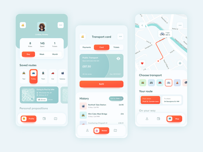 Public Transport Mobile App gps public transport product design interface bank card navigator simple clean design application user interface navigation user experience mobile app android app ios ux ui