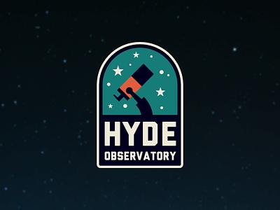 Hyde Observatory illustration observatory badge telescope astronomy