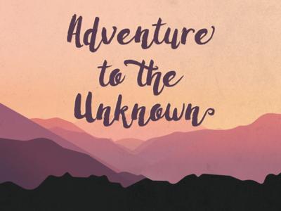 Unknown Adventures mountain sunset illustration gradients