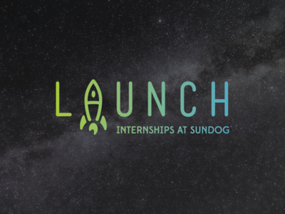 Launch launch rocket ship sundog logotype space logo branding internship