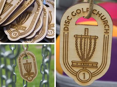 Disc Golf Church Tag laser engraving tokens tags logo church golf disc